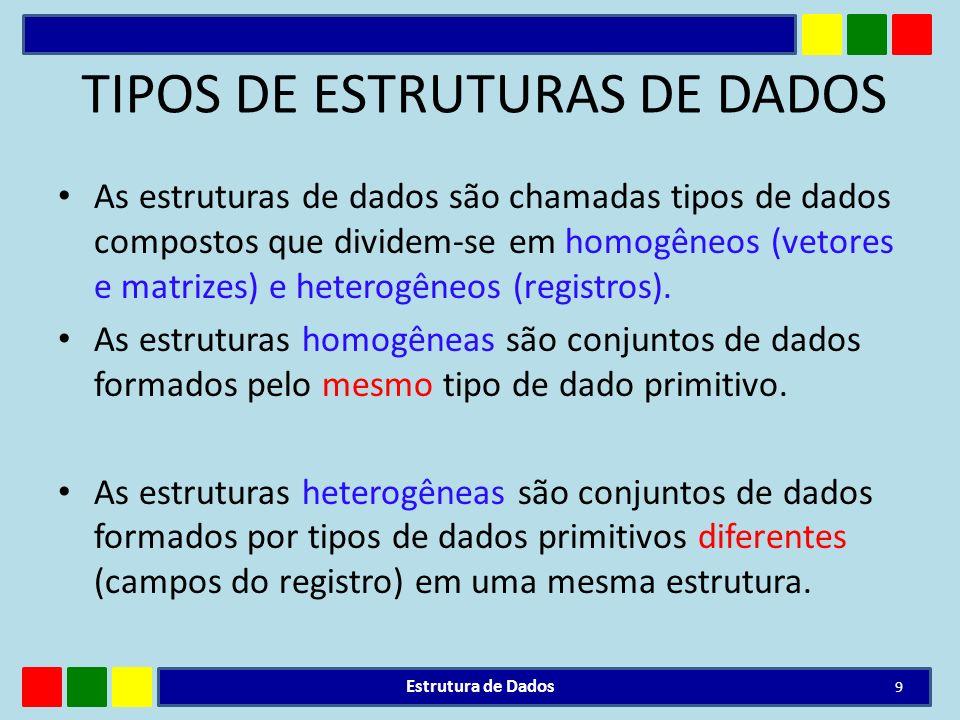 TIPOS DE ESTRUTURAS DE DADOS As estruturas de dados são chamadas tipos de dados compostos que dividem-se em homogêneos (vetores e matrizes) e heterogê