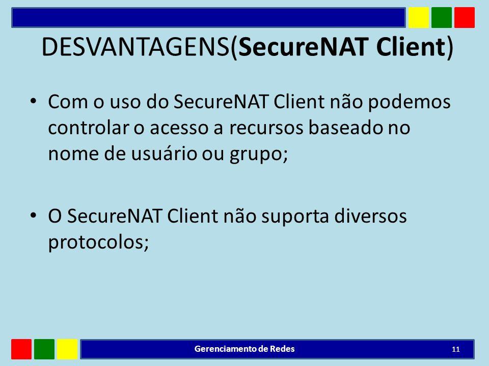 DESVANTAGENS(SecureNAT Client) Com o uso do SecureNAT Client não podemos controlar o acesso a recursos baseado no nome de usuário ou grupo; O SecureNA