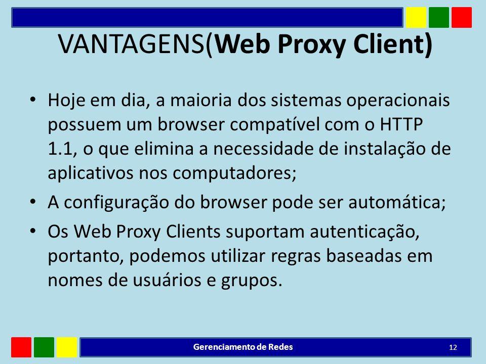 VANTAGENS(Web Proxy Client) Hoje em dia, a maioria dos sistemas operacionais possuem um browser compatível com o HTTP 1.1, o que elimina a necessidade