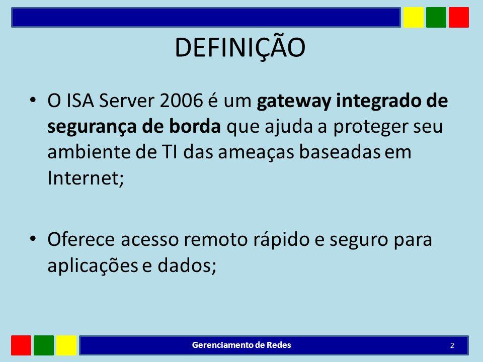 DEFINIÇÃO O ISA Server 2006 é um gateway integrado de segurança de borda que ajuda a proteger seu ambiente de TI das ameaças baseadas em Internet; Ofe