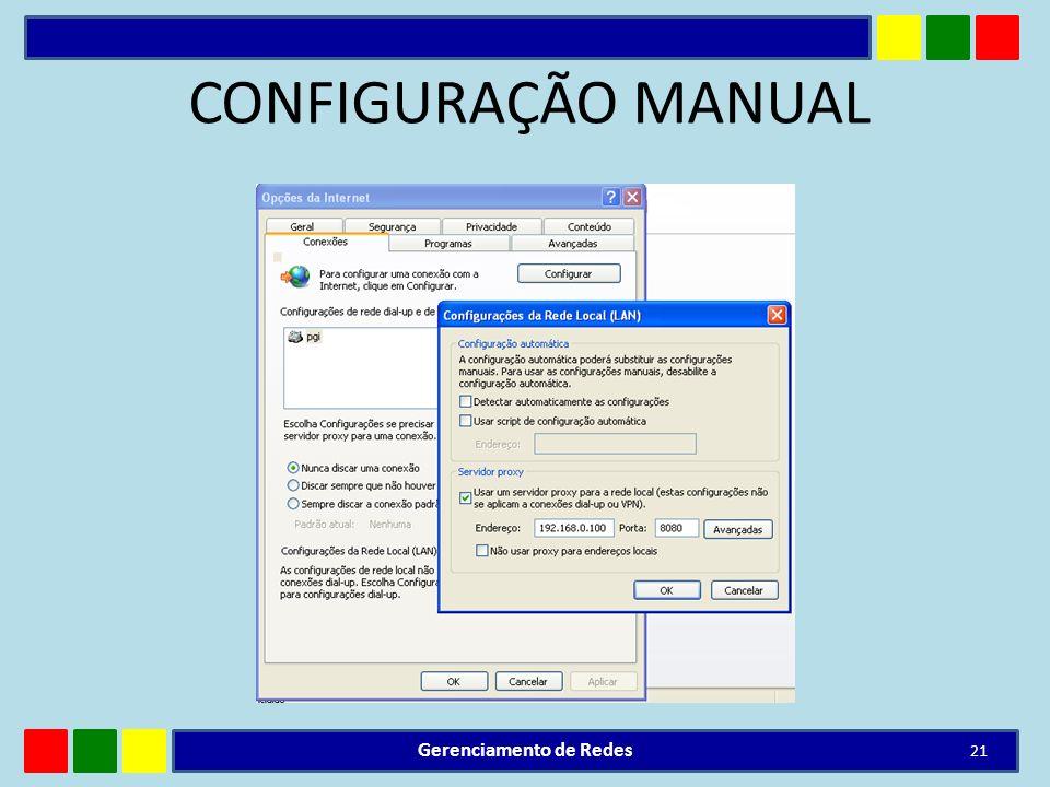 CONFIGURAÇÃO MANUAL Gerenciamento de Redes 21
