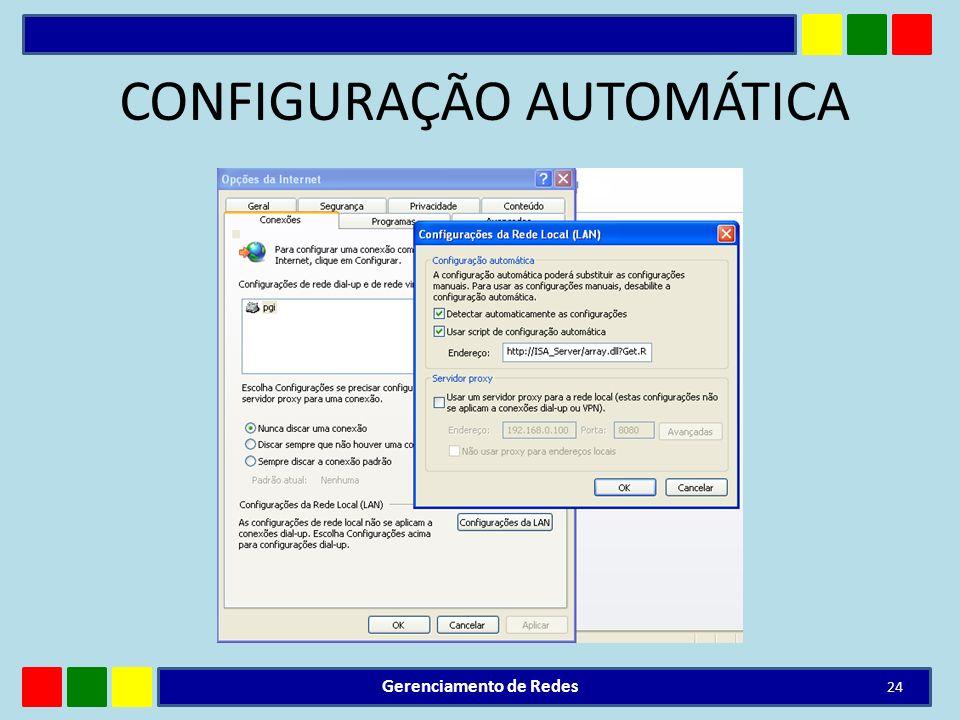 CONFIGURAÇÃO AUTOMÁTICA Gerenciamento de Redes 24
