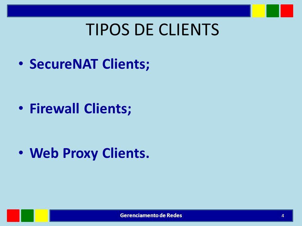 TIPOS DE CLIENTS SecureNAT Clients; Firewall Clients; Web Proxy Clients. Gerenciamento de Redes 4