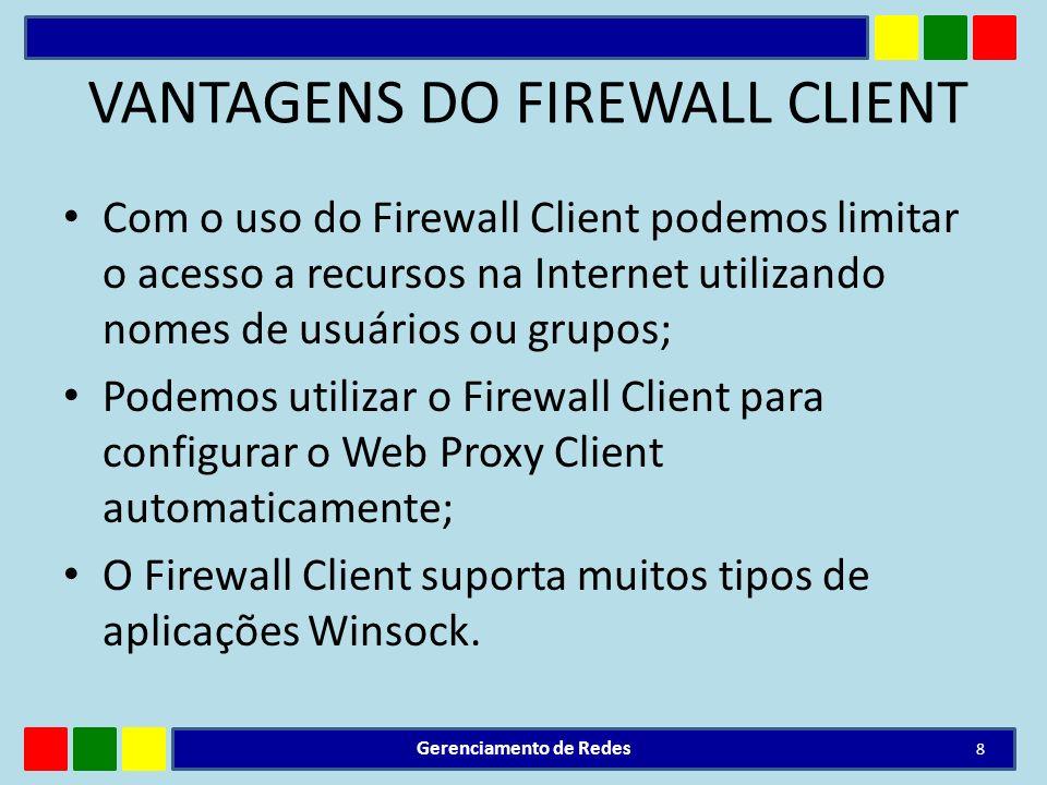 VANTAGENS DO FIREWALL CLIENT Com o uso do Firewall Client podemos limitar o acesso a recursos na Internet utilizando nomes de usuários ou grupos; Pode