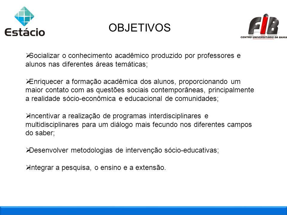 2OBJETIVOS Socializar o conhecimento acadêmico produzido por professores e alunos nas diferentes áreas temáticas; Enriquecer a formação acadêmica dos