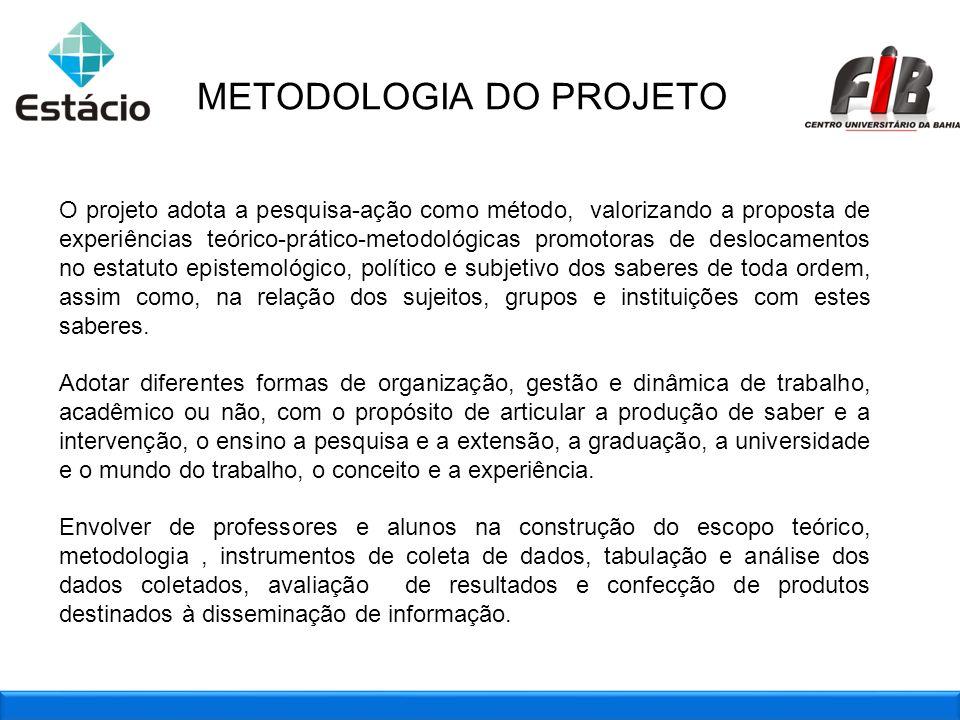 METODOLOGIA DO PROJETO O projeto adota a pesquisa-ação como método, valorizando a proposta de experiências teórico-prático-metodológicas promotoras de