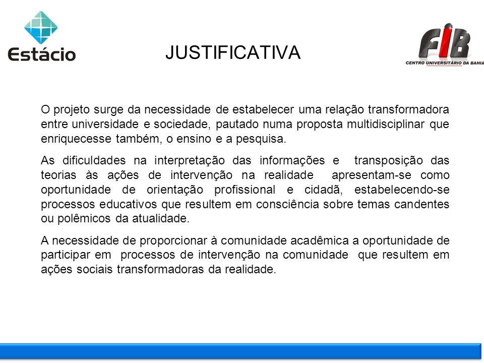 JUSTIFICATIVA O projeto surge da necessidade de estabelecer uma relação transformadora entre universidade e sociedade, pautado numa proposta multidisc
