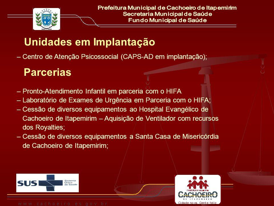 Unidades em Implantação – Centro de Atenção Psicossocial (CAPS-AD em implantação); Parcerias – Pronto-Atendimento Infantil em parceria com o HIFA – La
