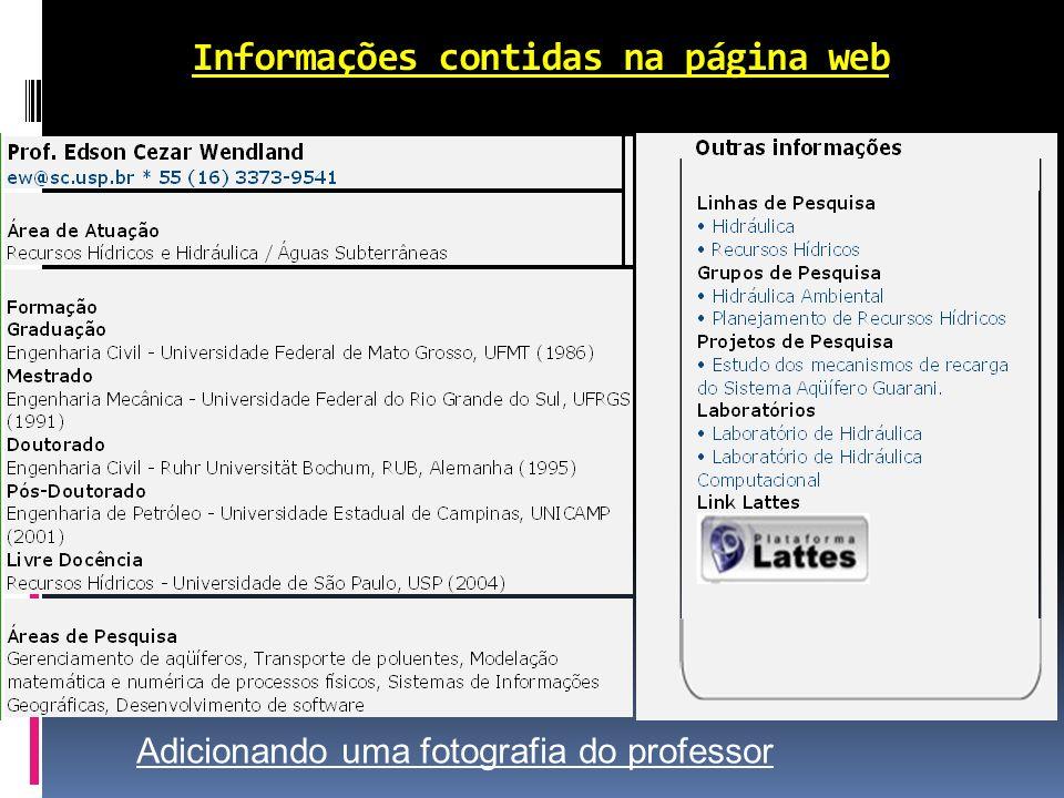 Informações contidas na página web Adicionando uma fotografia do professor
