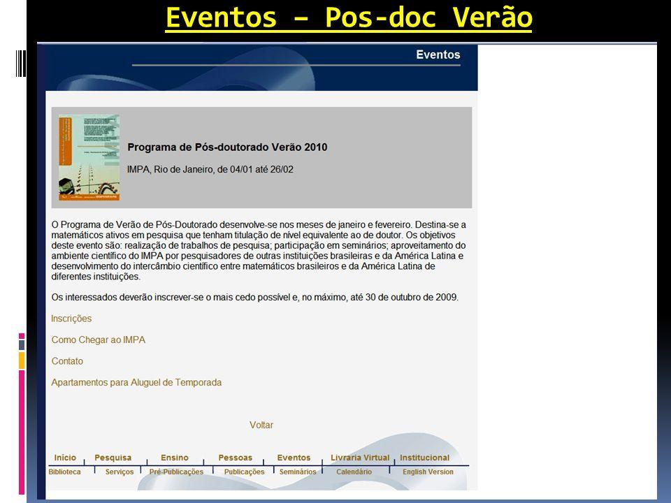 Eventos – Pos-doc Verão