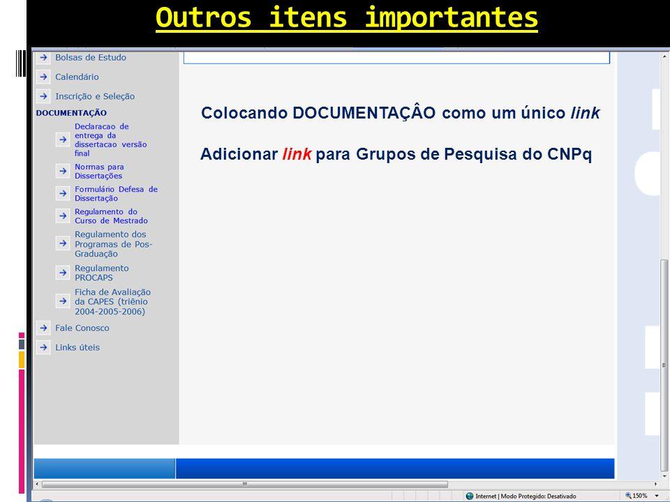 Outros itens importantes Colocando DOCUMENTAÇÂO como um único link Adicionar link para Grupos de Pesquisa do CNPq