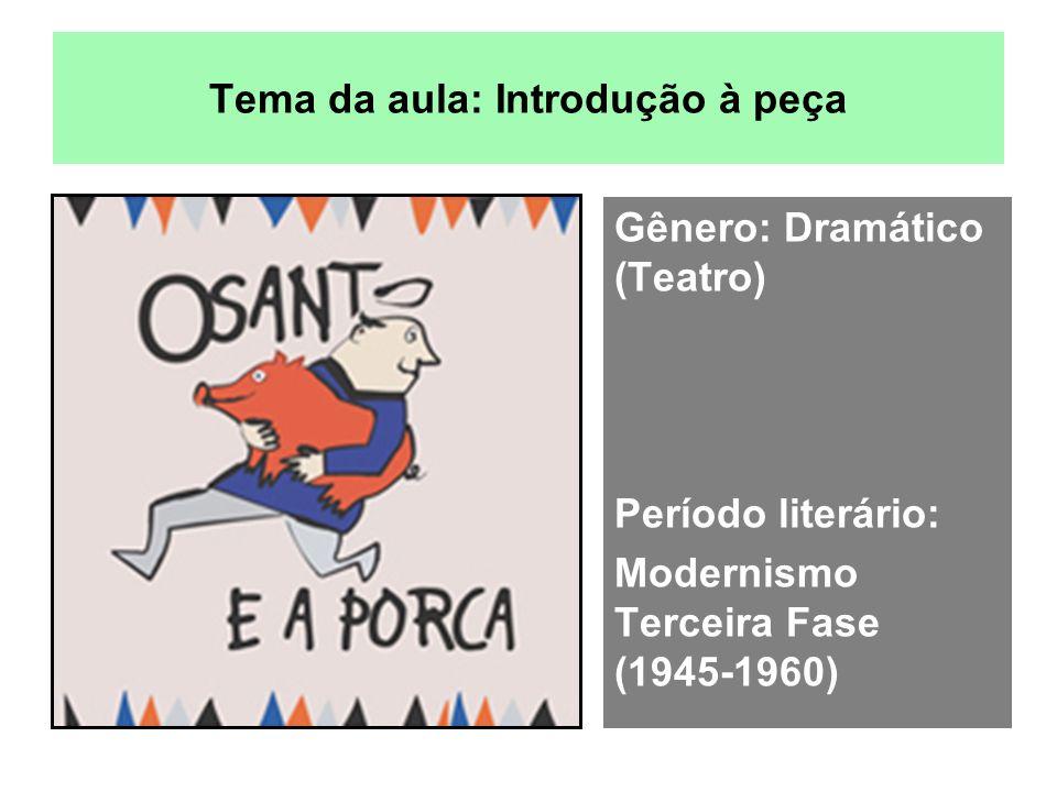 Tema da aula: Introdução à peça Gênero: Dramático (Teatro) Período literário: Modernismo Terceira Fase (1945-1960)