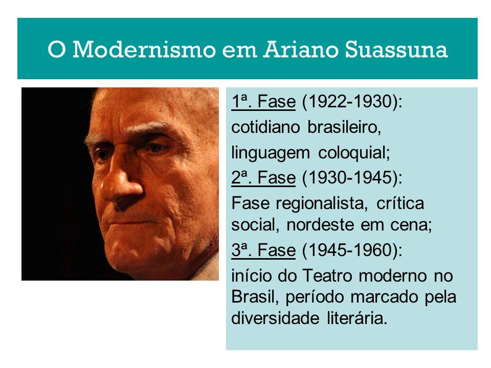 O Modernismo em Ariano Suassuna 1ª. Fase (1922-1930): cotidiano brasileiro, linguagem coloquial; 2ª. Fase (1930-1945): Fase regionalista, crítica soci