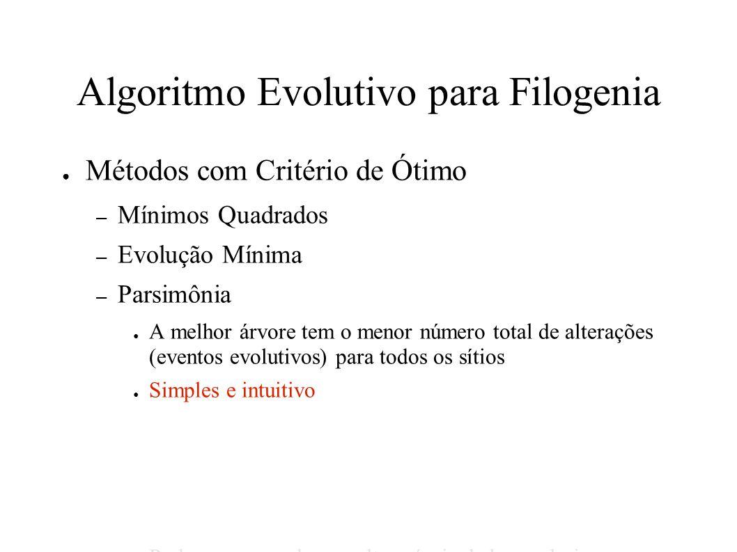 Algoritmo Evolutivo para Filogenia Métodos com Critério de Ótimo – Mínimos Quadrados – Evolução Mínima – Parsimônia A melhor árvore tem o menor número total de alterações (eventos evolutivos) para todos os sítios Simples e intuitivo Pode ser enganado por altos níveis de homoplasias