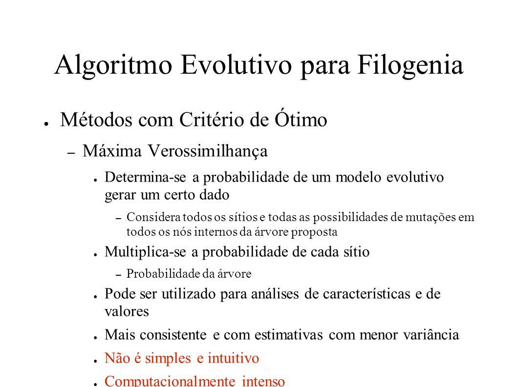 Algoritmo Evolutivo para Filogenia Métodos com Critério de Ótimo – Máxima Verossimilhança Determina-se a probabilidade de um modelo evolutivo gerar um certo dado – Considera todos os sítios e todas as possibilidades de mutações em todos os nós internos da árvore proposta Multiplica-se a probabilidade de cada sítio – Probabilidade da árvore Pode ser utilizado para análises de características e de valores Mais consistente e com estimativas com menor variância Não é simples e intuitivo Computacionalmente intenso Pode ser enganado por altos níveis de homoplasias