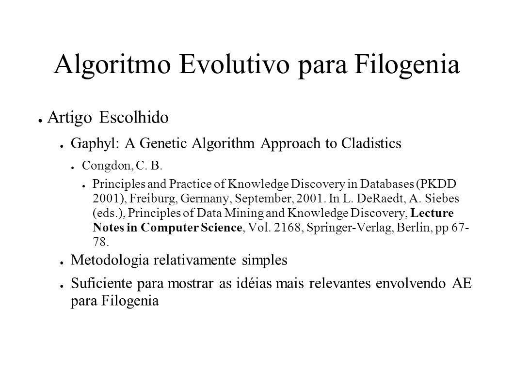 Algoritmo Evolutivo para Filogenia Artigo Escolhido Gaphyl: A Genetic Algorithm Approach to Cladistics Congdon, C.