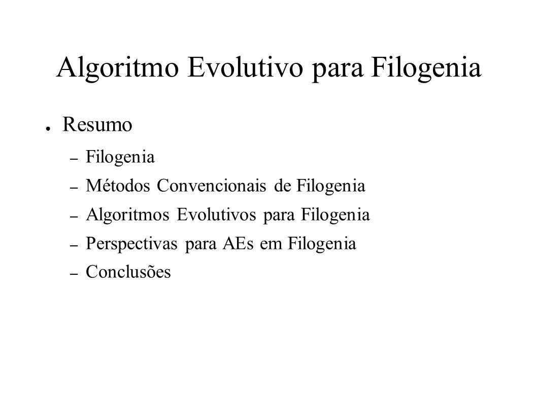 Algoritmo Evolutivo para Filogenia Resumo – Filogenia – Métodos Convencionais de Filogenia – Algoritmos Evolutivos para Filogenia – Perspectivas para AEs em Filogenia – Conclusões