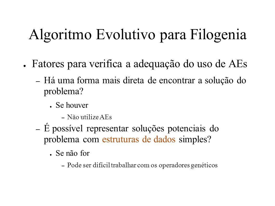 Algoritmo Evolutivo para Filogenia Fatores para verifica a adequação do uso de AEs – Há uma forma mais direta de encontrar a solução do problema.