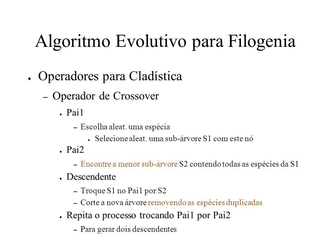 Algoritmo Evolutivo para Filogenia Operadores para Cladística – Operador de Crossover Pai1 – Escolha aleat.