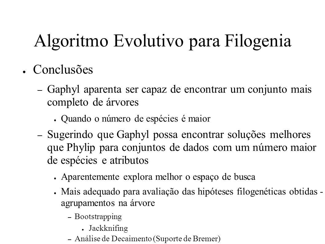 Algoritmo Evolutivo para Filogenia Conclusões – Gaphyl aparenta ser capaz de encontrar um conjunto mais completo de árvores Quando o número de espécies é maior – Sugerindo que Gaphyl possa encontrar soluções melhores que Phylip para conjuntos de dados com um número maior de espécies e atributos Aparentemente explora melhor o espaço de busca Mais adequado para avaliação das hipóteses filogenéticas obtidas - agrupamentos na árvore – Bootstrapping Jackknifing – Análise de Decaimento (Suporte de Bremer)