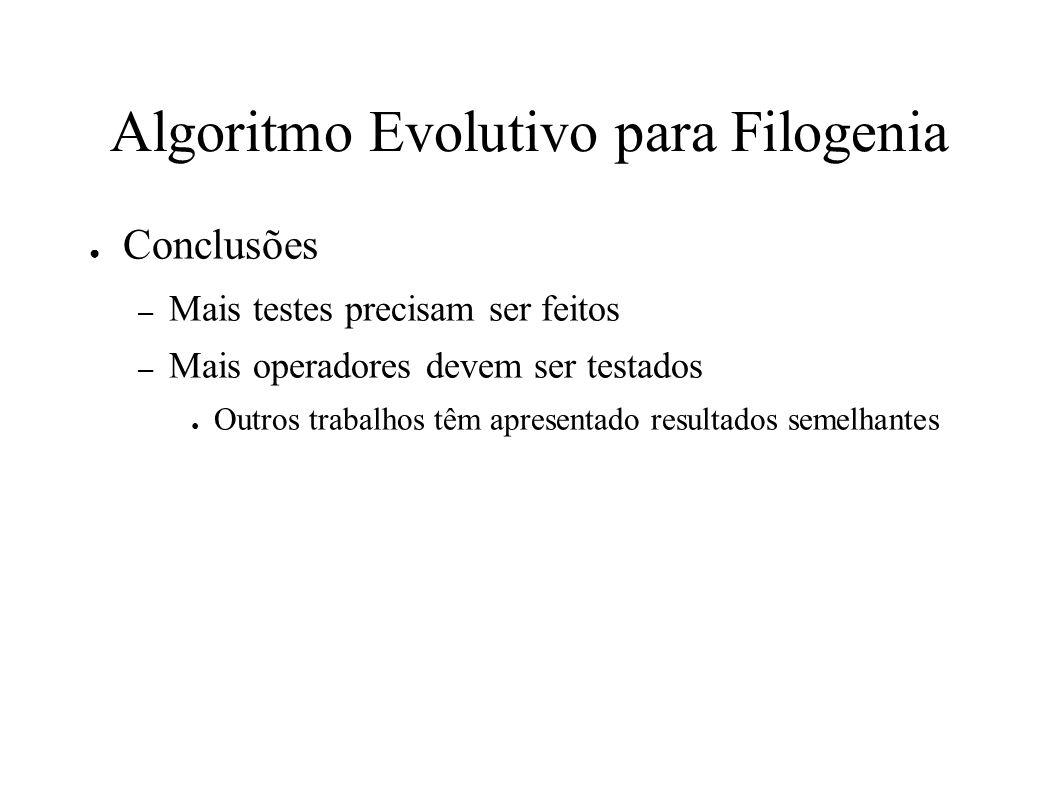 Algoritmo Evolutivo para Filogenia Conclusões – Mais testes precisam ser feitos – Mais operadores devem ser testados Outros trabalhos têm apresentado resultados semelhantes