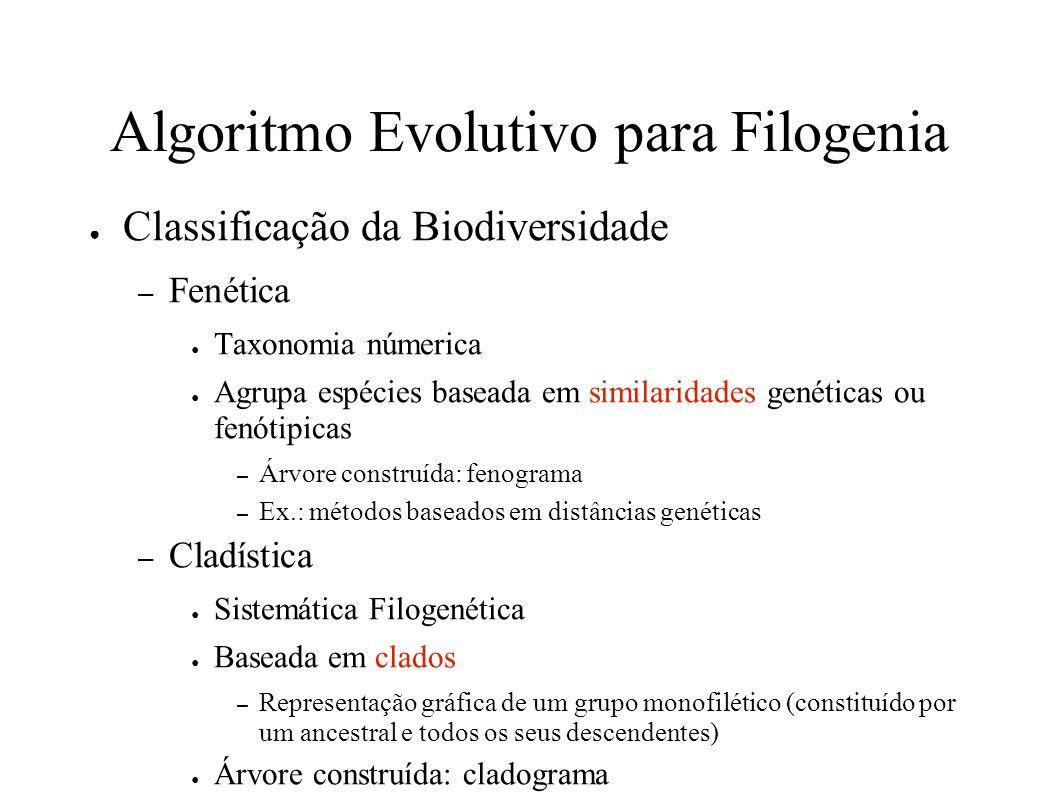 Algoritmo Evolutivo para Filogenia Classificação da Biodiversidade – Fenética Taxonomia númerica Agrupa espécies baseada em similaridades genéticas ou fenótipicas – Árvore construída: fenograma – Ex.: métodos baseados em distâncias genéticas – Cladística Sistemática Filogenética Baseada em clados – Representação gráfica de um grupo monofilético (constituído por um ancestral e todos os seus descendentes) Árvore construída: cladograma