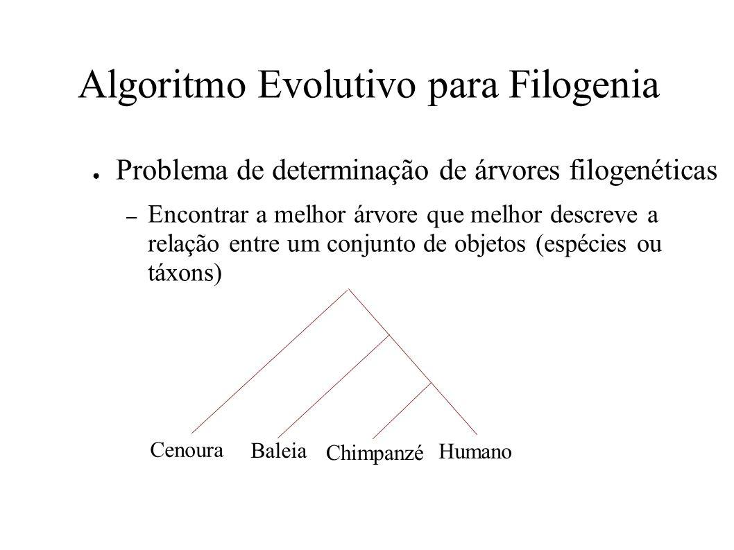 Algoritmo Evolutivo para Filogenia Problema de determinação de árvores filogenéticas – Encontrar a melhor árvore que melhor descreve a relação entre um conjunto de objetos (espécies ou táxons) Cenoura Baleia Chimpanzé Humano