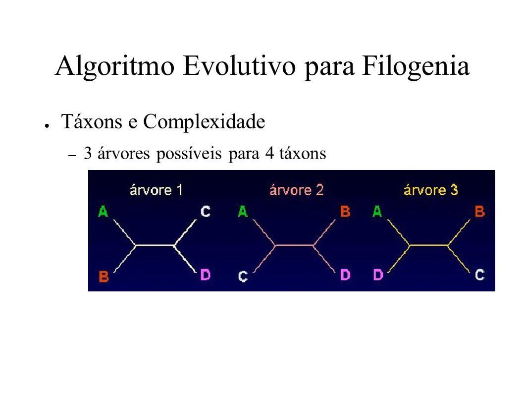 Algoritmo Evolutivo para Filogenia Táxons e Complexidade – 3 árvores possíveis para 4 táxons – Para 5 táxons?