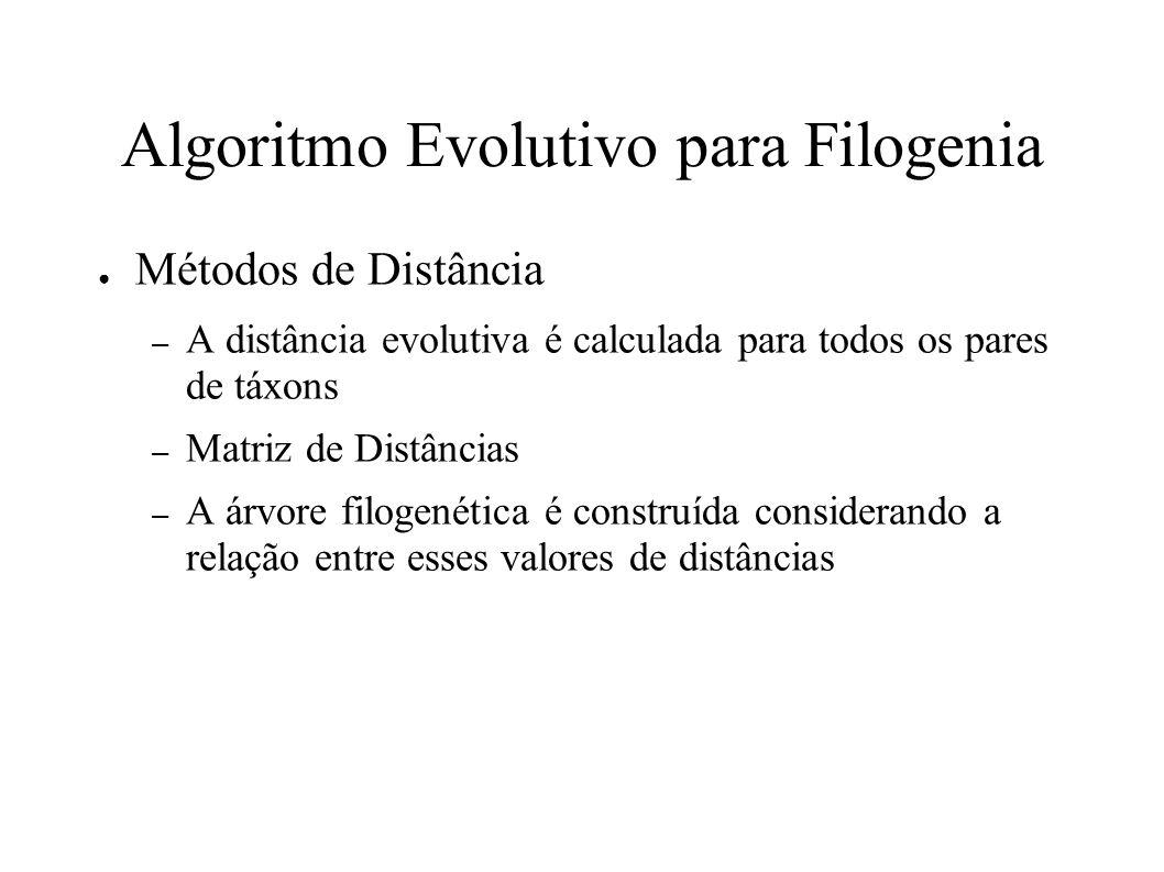 Algoritmo Evolutivo para Filogenia Métodos de Distância – A distância evolutiva é calculada para todos os pares de táxons – Matriz de Distâncias – A árvore filogenética é construída considerando a relação entre esses valores de distâncias