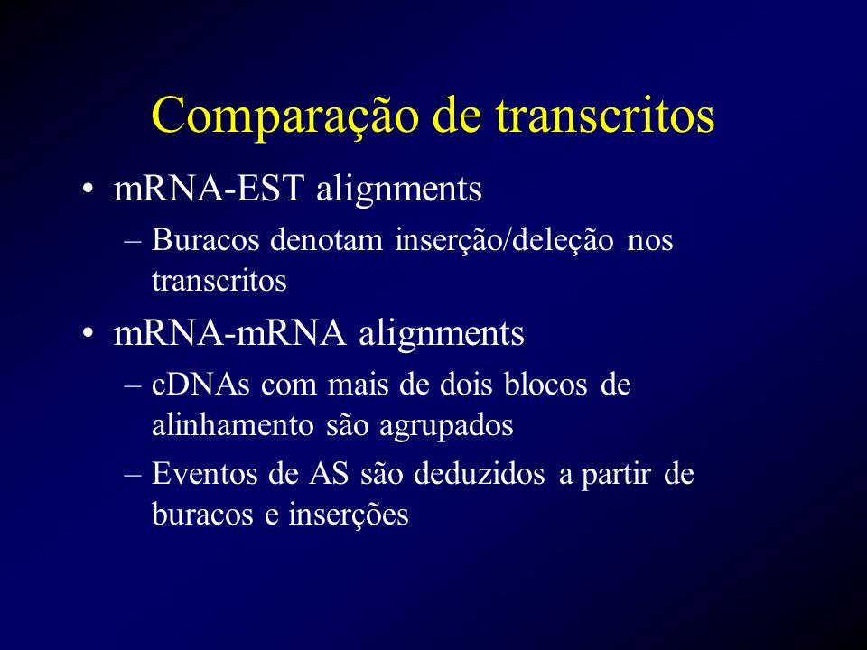 Comparação de transcritos mRNA-EST alignments –Buracos denotam inserção/deleção nos transcritos mRNA-mRNA alignments –cDNAs com mais de dois blocos de