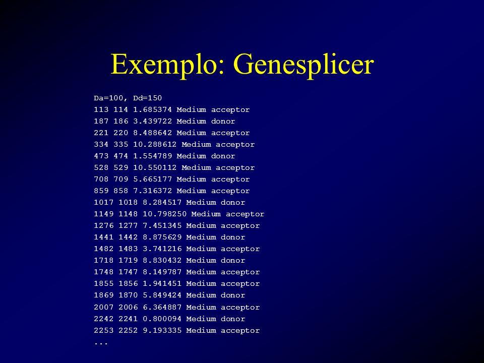 Exemplo: Genesplicer Da=100, Dd=150 113 114 1.685374 Medium acceptor 187 186 3.439722 Medium donor 221 220 8.488642 Medium acceptor 334 335 10.288612