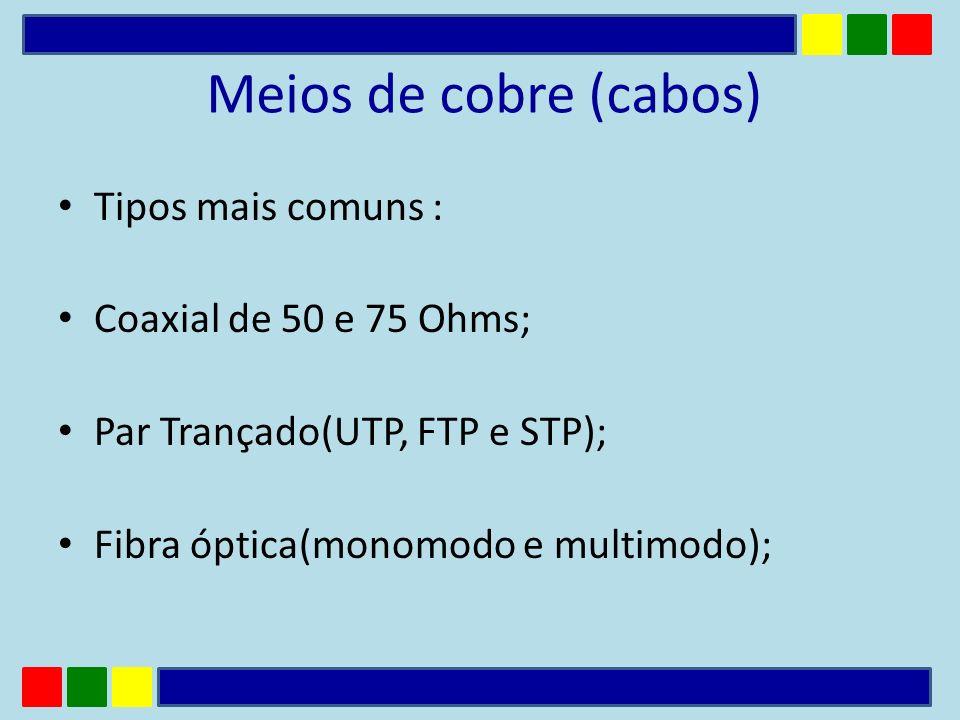 Meios de cobre (cabos) Tipos mais comuns : Coaxial de 50 e 75 Ohms; Par Trançado(UTP, FTP e STP); Fibra óptica(monomodo e multimodo);