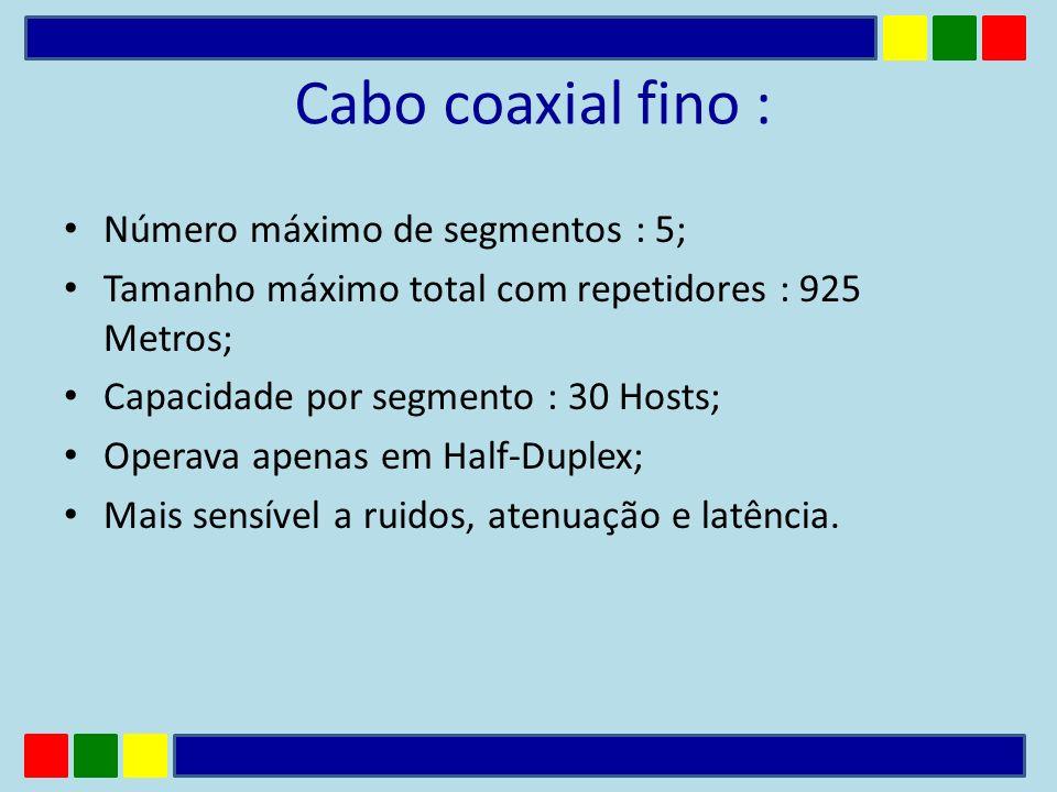 Cabo coaxial fino : Número máximo de segmentos : 5; Tamanho máximo total com repetidores : 925 Metros; Capacidade por segmento : 30 Hosts; Operava ape