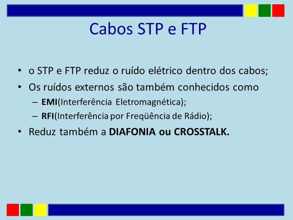 Cabos STP e FTP o STP e FTP reduz o ruído elétrico dentro dos cabos; Os ruídos externos são também conhecidos como – EMI(Interferência Eletromagnética