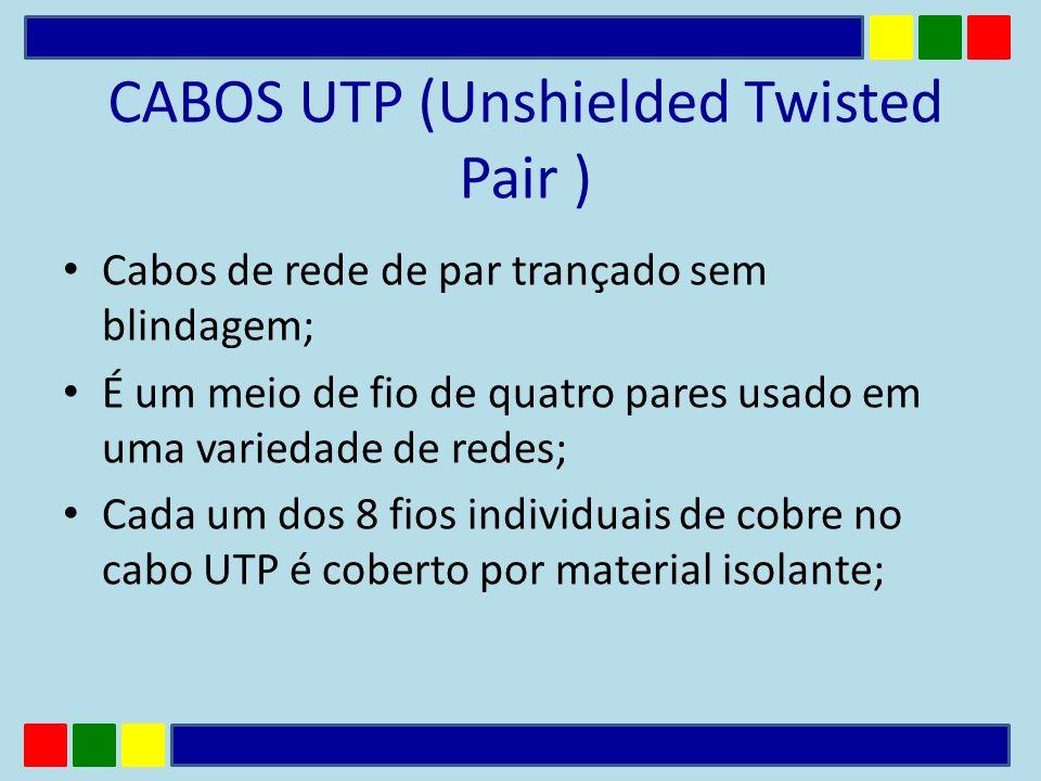 CABOS UTP (Unshielded Twisted Pair ) Cabos de rede de par trançado sem blindagem; É um meio de fio de quatro pares usado em uma variedade de redes; Ca