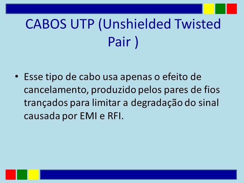 CABOS UTP (Unshielded Twisted Pair ) Esse tipo de cabo usa apenas o efeito de cancelamento, produzido pelos pares de fios trançados para limitar a deg