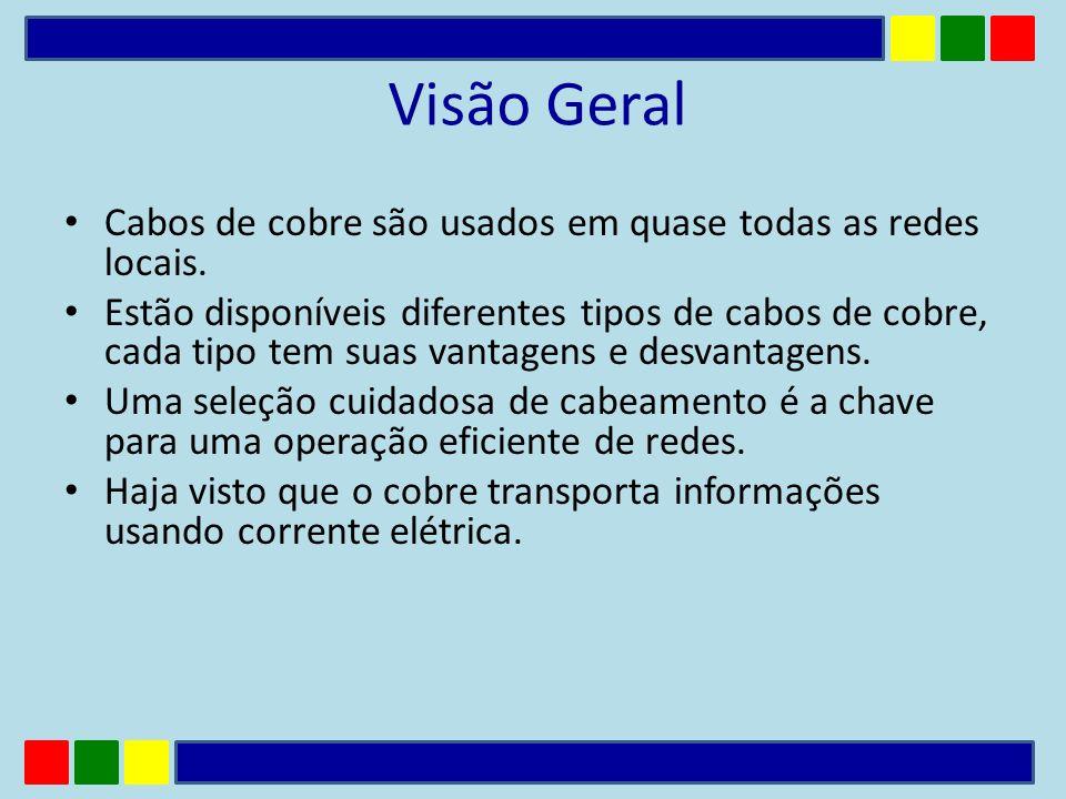 Visão Geral Cabos de cobre são usados em quase todas as redes locais. Estão disponíveis diferentes tipos de cabos de cobre, cada tipo tem suas vantage