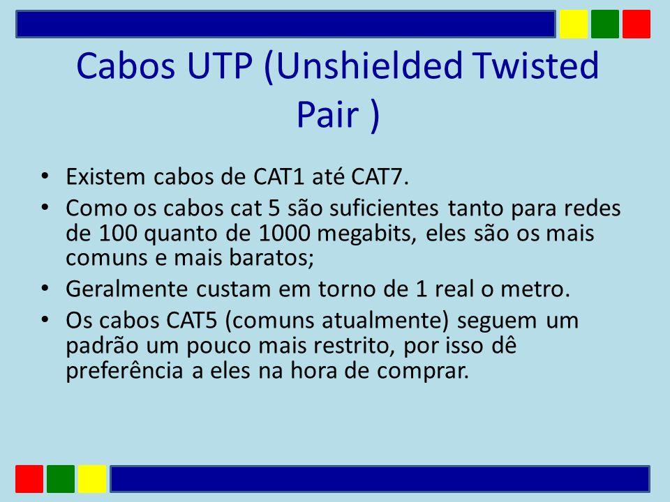 Cabos UTP (Unshielded Twisted Pair ) Existem cabos de CAT1 até CAT7. Como os cabos cat 5 são suficientes tanto para redes de 100 quanto de 1000 megabi