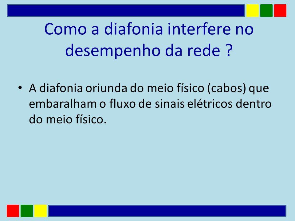 Como a diafonia interfere no desempenho da rede ? A diafonia oriunda do meio físico (cabos) que embaralham o fluxo de sinais elétricos dentro do meio