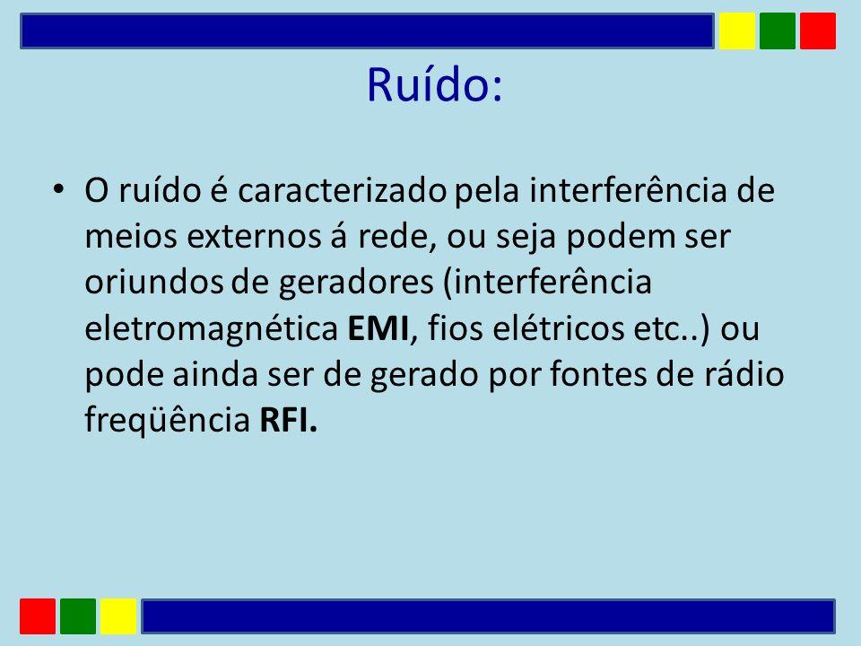 Ruído: O ruído é caracterizado pela interferência de meios externos á rede, ou seja podem ser oriundos de geradores (interferência eletromagnética EMI