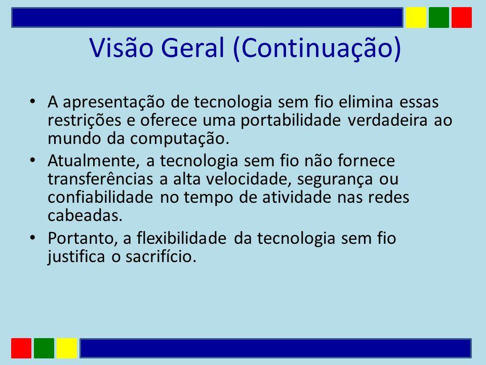 Visão Geral (Continuação) A apresentação de tecnologia sem fio elimina essas restrições e oferece uma portabilidade verdadeira ao mundo da computação.