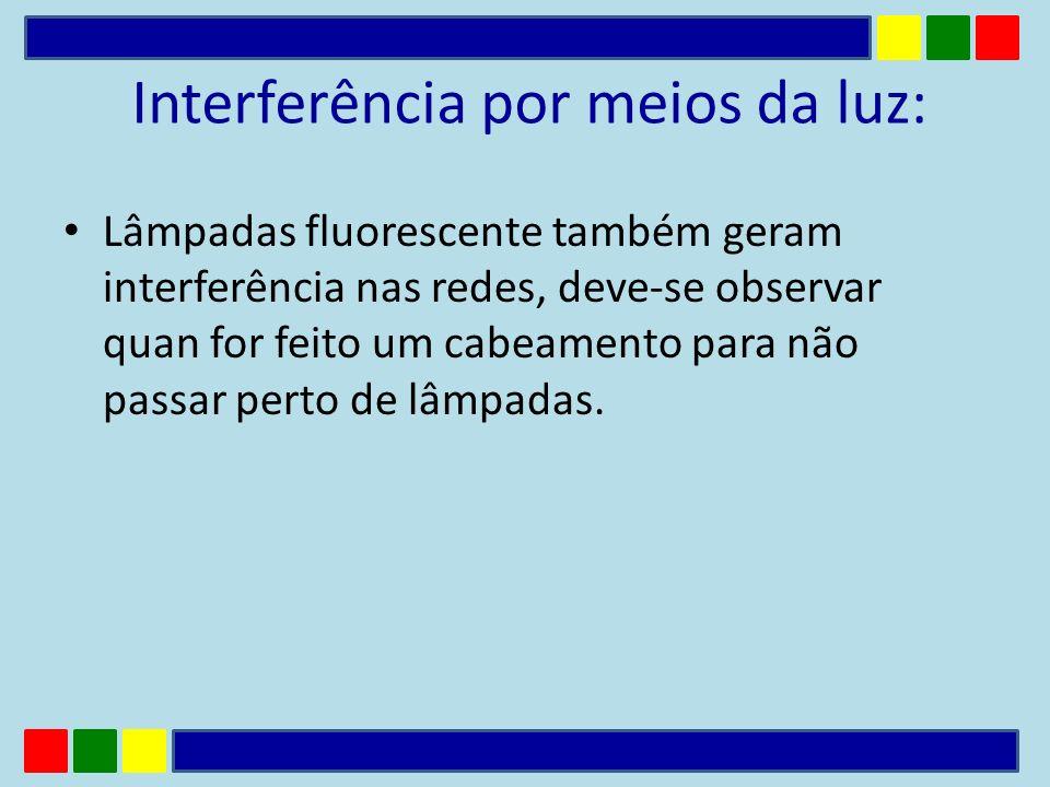 Interferência por meios da luz: Lâmpadas fluorescente também geram interferência nas redes, deve-se observar quan for feito um cabeamento para não pas