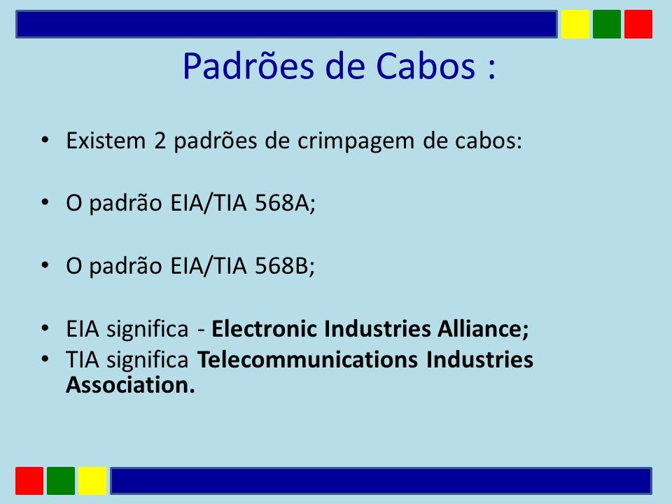 Padrões de Cabos : Existem 2 padrões de crimpagem de cabos: O padrão EIA/TIA 568A; O padrão EIA/TIA 568B; EIA significa - Electronic Industries Allian