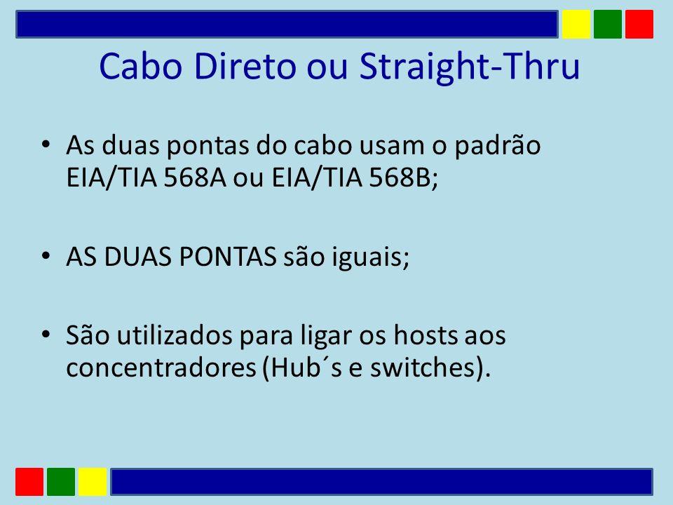 Cabo Direto ou Straight-Thru As duas pontas do cabo usam o padrão EIA/TIA 568A ou EIA/TIA 568B; AS DUAS PONTAS são iguais; São utilizados para ligar o