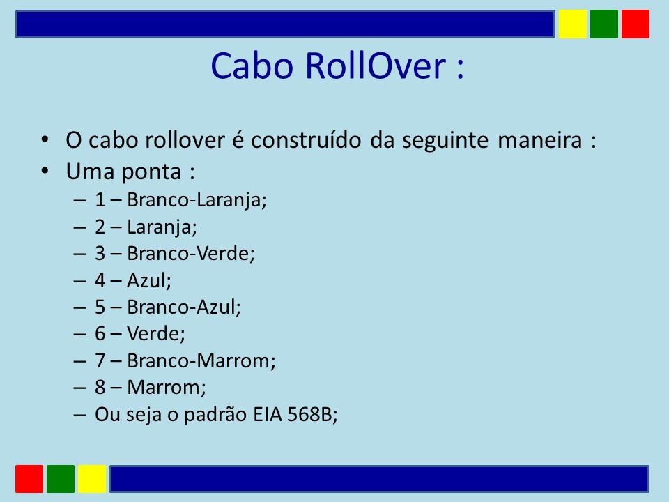 Cabo RollOver : O cabo rollover é construído da seguinte maneira : Uma ponta : – 1 – Branco-Laranja; – 2 – Laranja; – 3 – Branco-Verde; – 4 – Azul; –