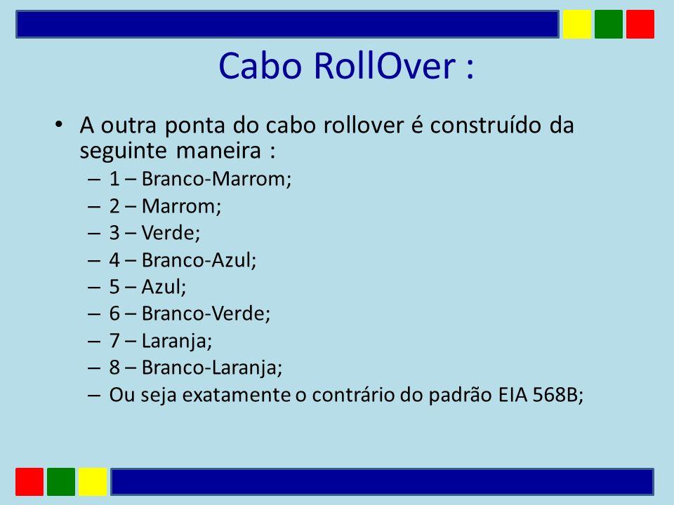 Cabo RollOver : A outra ponta do cabo rollover é construído da seguinte maneira : – 1 – Branco-Marrom; – 2 – Marrom; – 3 – Verde; – 4 – Branco-Azul; –