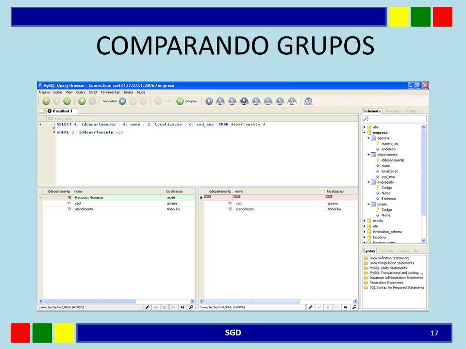 COMPARANDO GRUPOS SGD 17