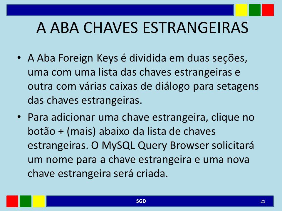 A ABA CHAVES ESTRANGEIRAS A Aba Foreign Keys é dividida em duas seções, uma com uma lista das chaves estrangeiras e outra com várias caixas de diálogo