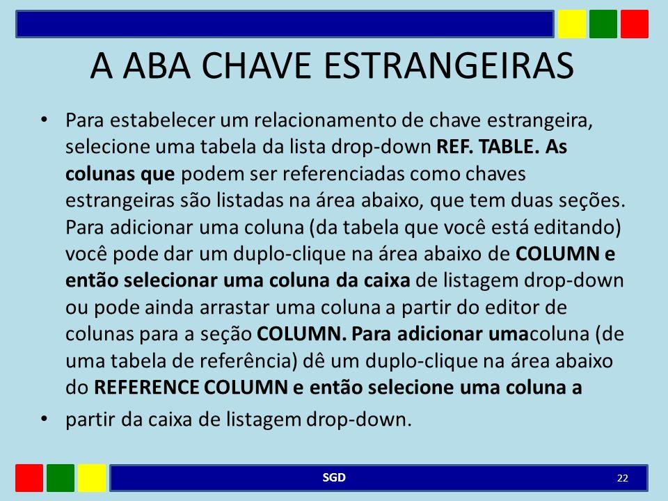 A ABA CHAVE ESTRANGEIRAS Para estabelecer um relacionamento de chave estrangeira, selecione uma tabela da lista drop-down REF. TABLE. As colunas que p