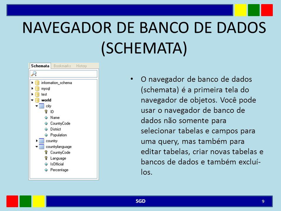 NAVEGADOR DE BANCO DE DADOS (SCHEMATA) O navegador de banco de dados (schemata) é a primeira tela do navegador de objetos. Você pode usar o navegador